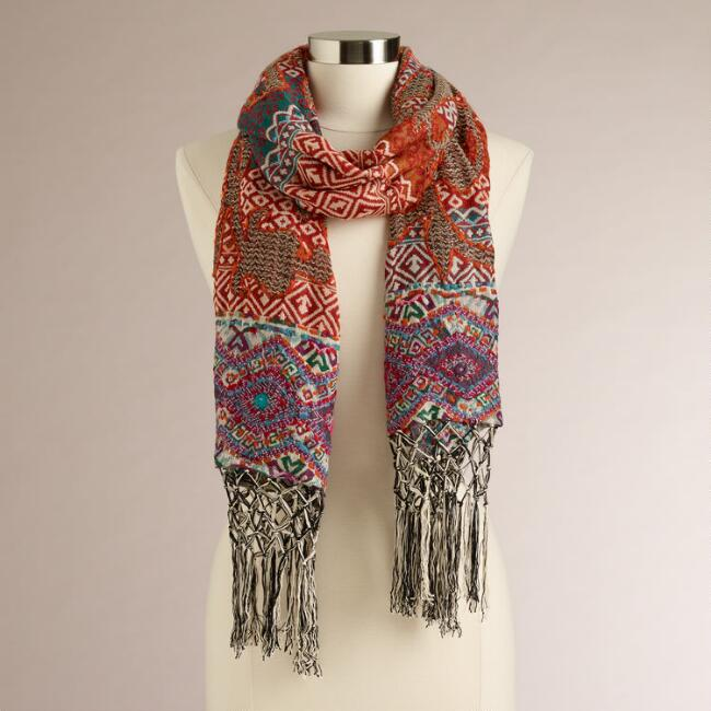 Taupe and Rust Scarf