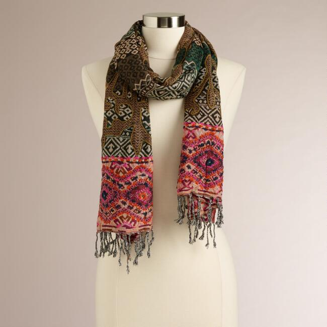 Gray and Orange Embroidered Scarf