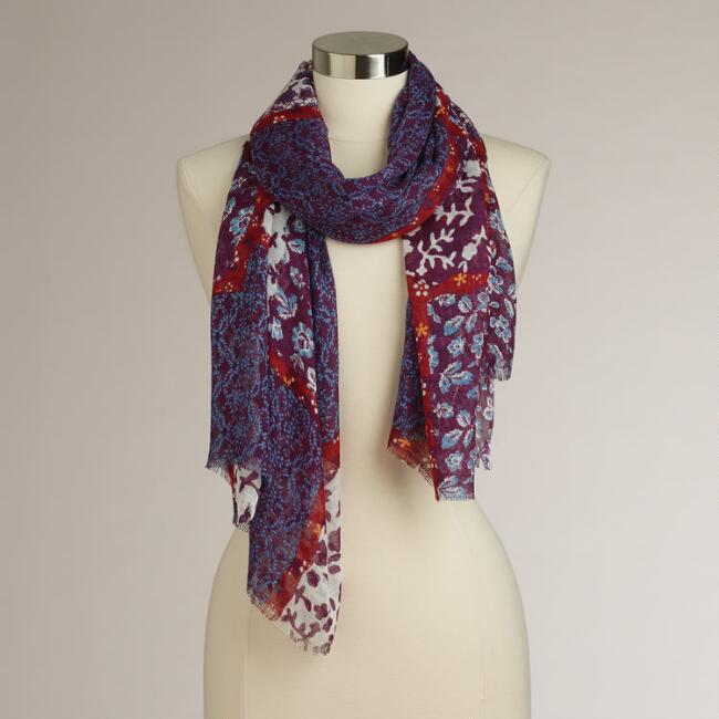 Red and Blue Floral Patchwork Scarf
