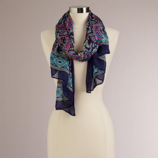 Purple and Green Paisley Border Scarf