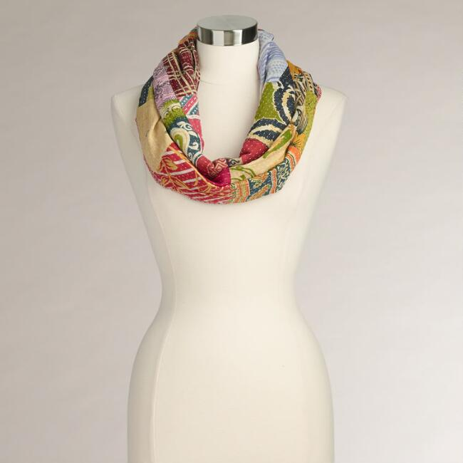 Kantha Patchwork Infinity Scarf