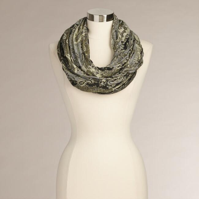 Black and Green Jacquard Infinity Scarf
