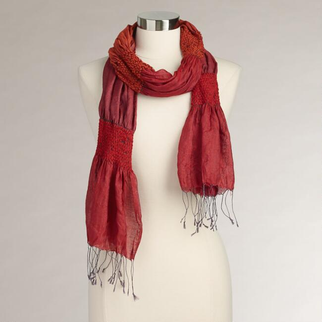 Red Puckered Silk Scarf
