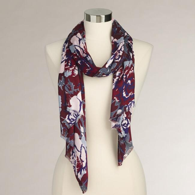 Wine Floral Scarf