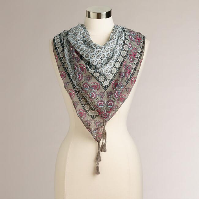 Square Floral Geo Print with Tassels Scarf