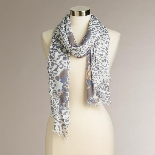 Blue and Lavender Animal and Paisley Print Scarf