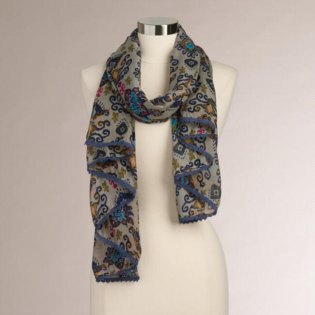 Taupe and Blue Medallion Scarf