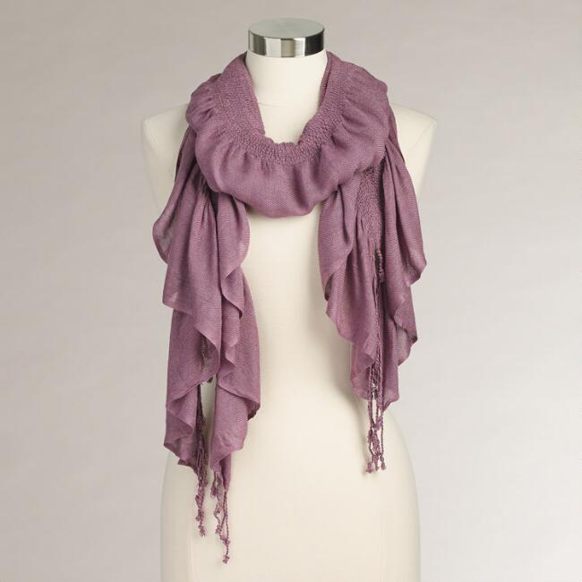 Dusty Purple Puckered Silk Scarf