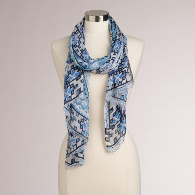 Blue Diamond Pattern Scarf