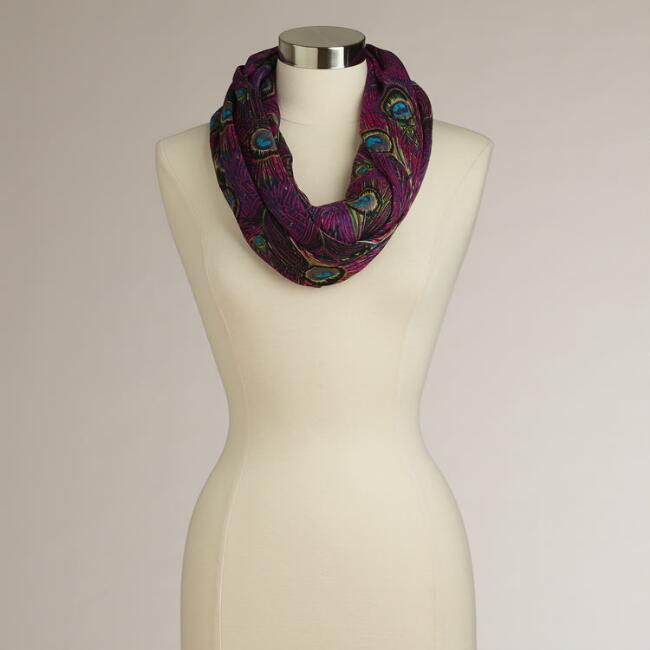 Purple Peacock Infinity Scarf