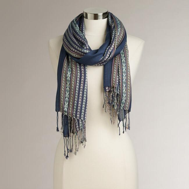 Blue Tribal Scarf with Fringe Scarf