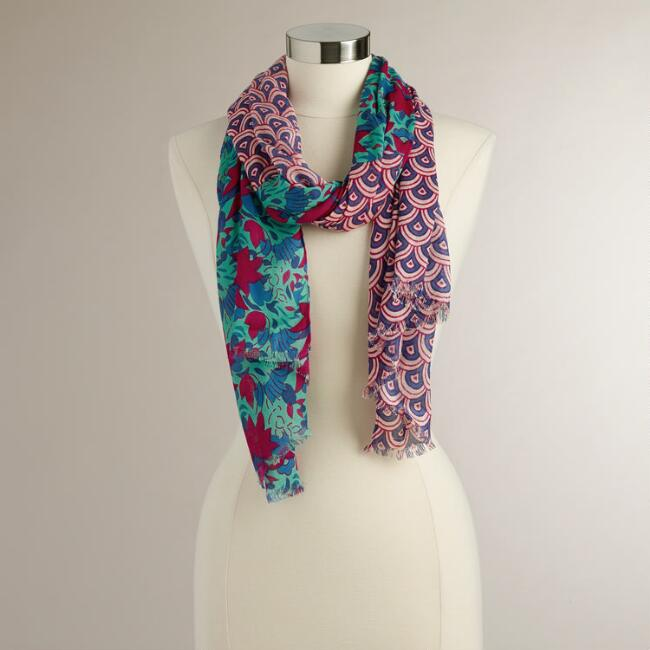 Red and Blue Abstract Geo Scarf