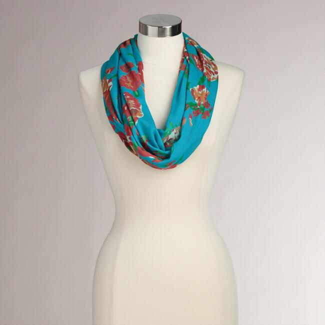 Green and Red Floral Infinity Scarf