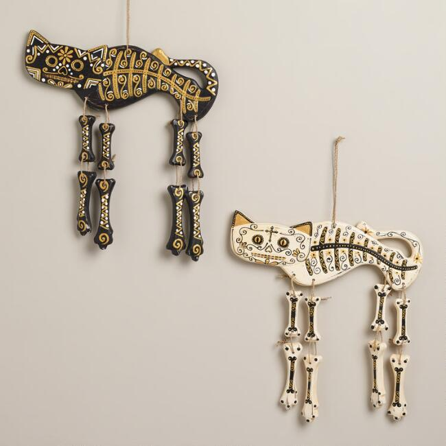 Black and Ivory Wooden Cat Skeleton Wall Decor, Set of 2