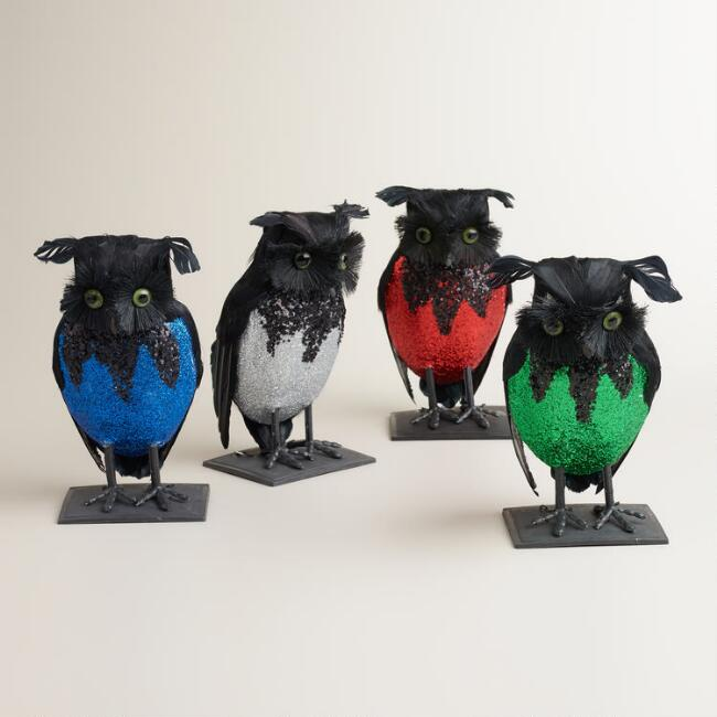 Glittered Feather Owls, Set of 4