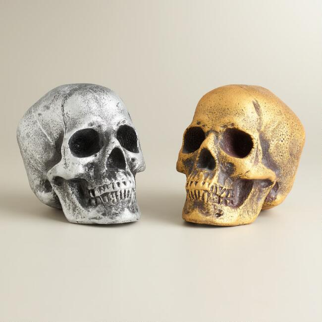 Gold and Silver Skulls, Set of 2