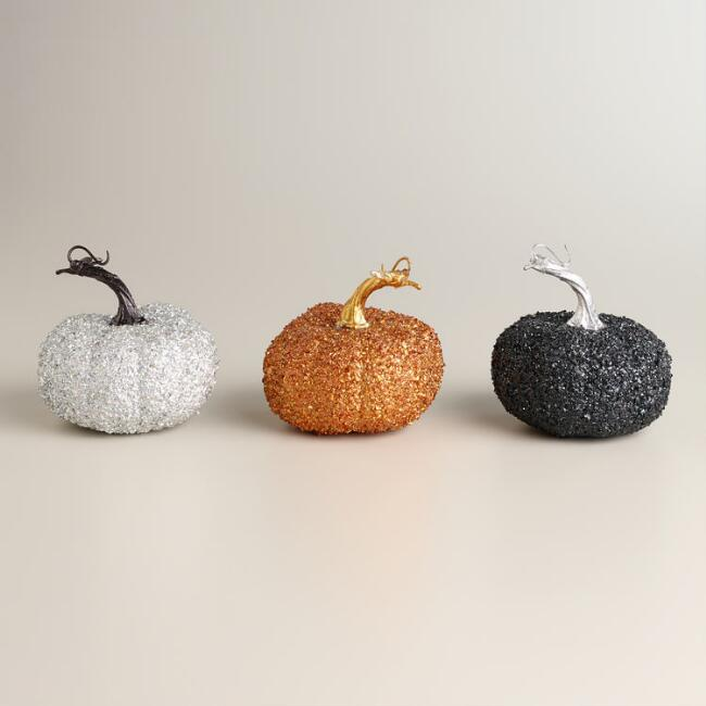 Glittered Pumpkins, Set of 3