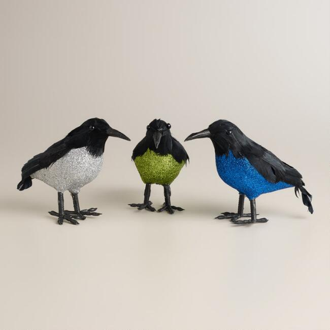 Glitter Crows,  Set of 3