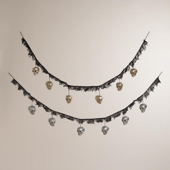 Glitter Skull Garlands, Set of 2