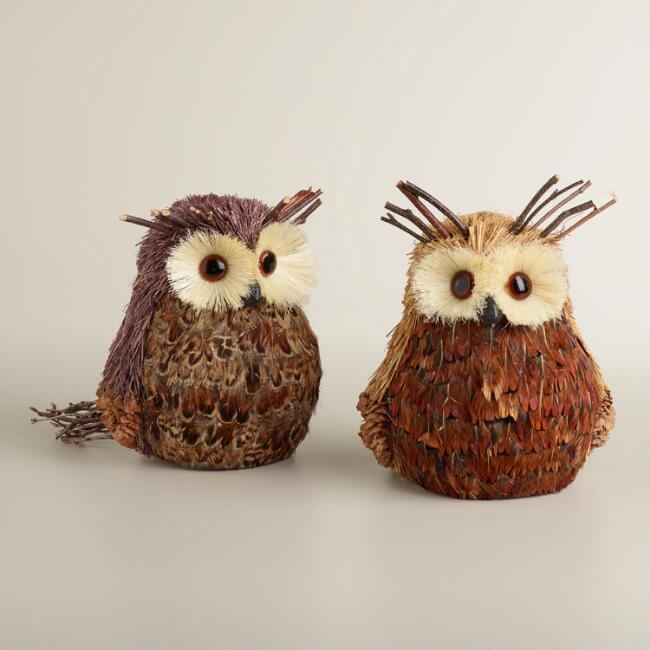 Natural Fiber Feather Owls, Set of 2