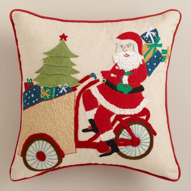 Santa on a Bike Embroidered Throw Pillow