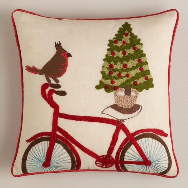 Bird on Bicycle Embroidered Throw Pillow
