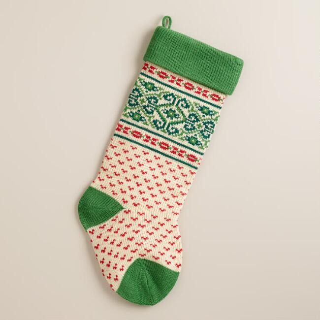 Green Nordic Knit Stocking