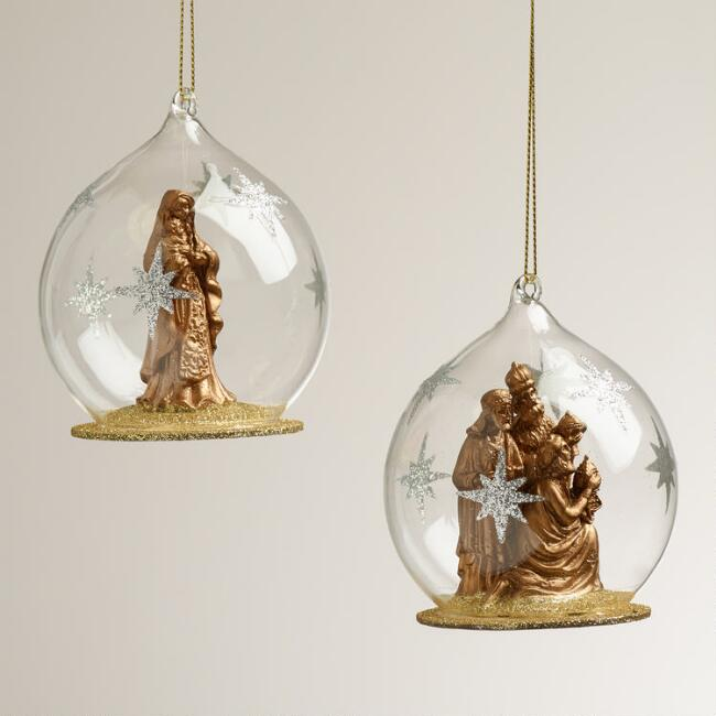 Glass Nativity Cloche Ornaments, Set of 2