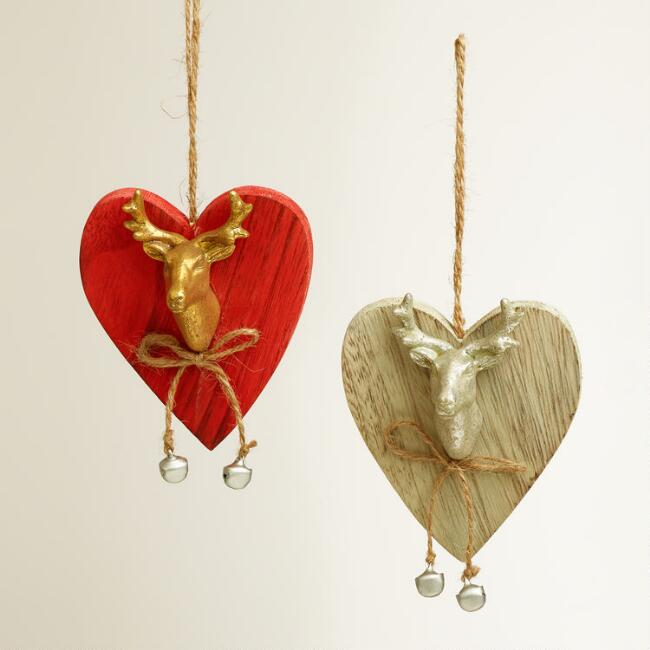 Stag Head Heart Wooden Ornaments, Set of 2