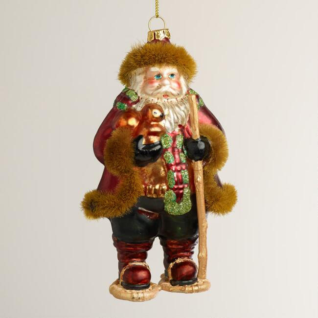 Glass Snowshoe Santa Ornament