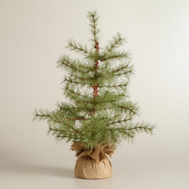 Shimmer Pine Tree with Burlap
