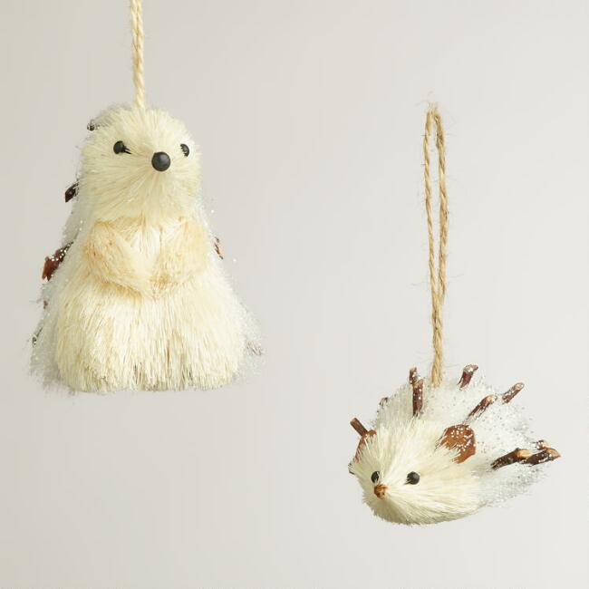 Sparkling Fabric Hedgehog Ornaments, Set of 2
