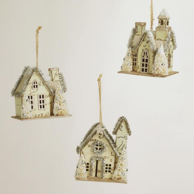 Tinsel Paper House Ornaments, Set of 3