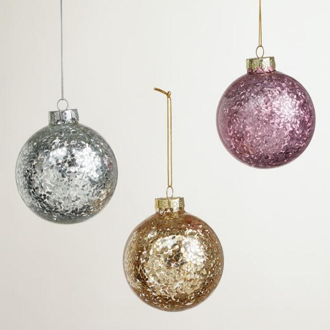 Sequins in Glass Ball Ornaments, Set of 3