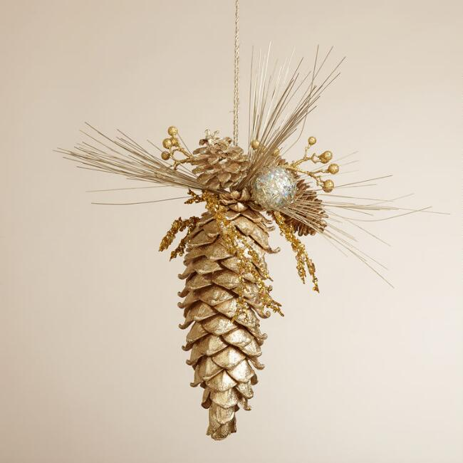 Hanging Glittered Pinecone