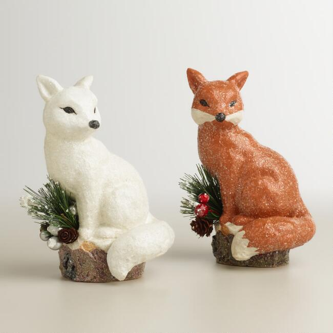 Paper Pulp Foxes,  Set of 2