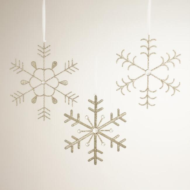 Silver Beaded  Snowflakes, Set of 3