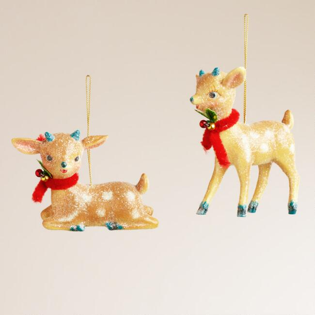 Paper Pulp Deer Ornaments, Set of 2