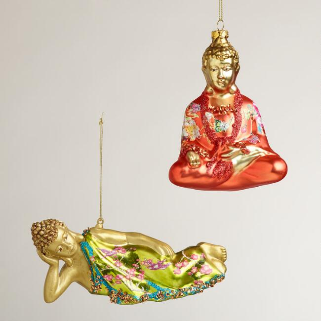 Floral Glass Buddha Ornaments, Set of 2