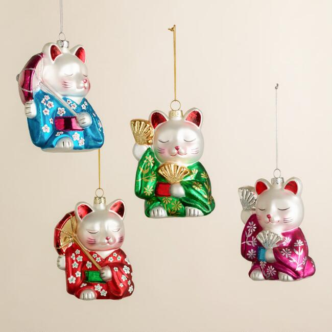 Glass Cat Geisha Ornaments, Set of 4