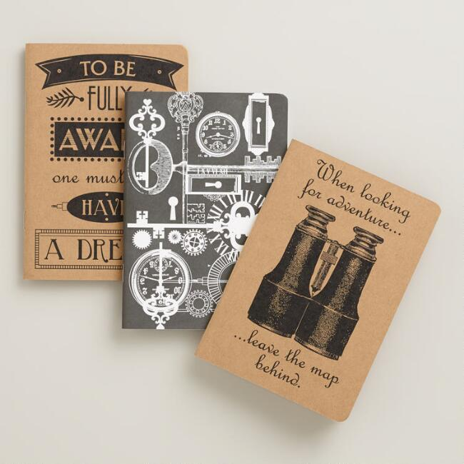 Parisian Steampunk Words of Wisdom Kraft Journals, 3-Pack