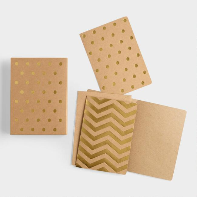 Gold Foil Geo Boxed Notecards Set of 12