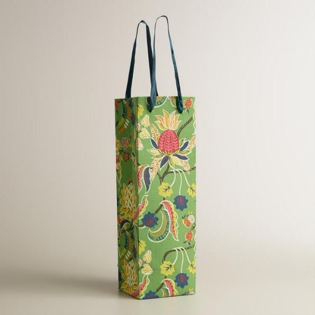 Green Henry Floral Handmade Wine Bag