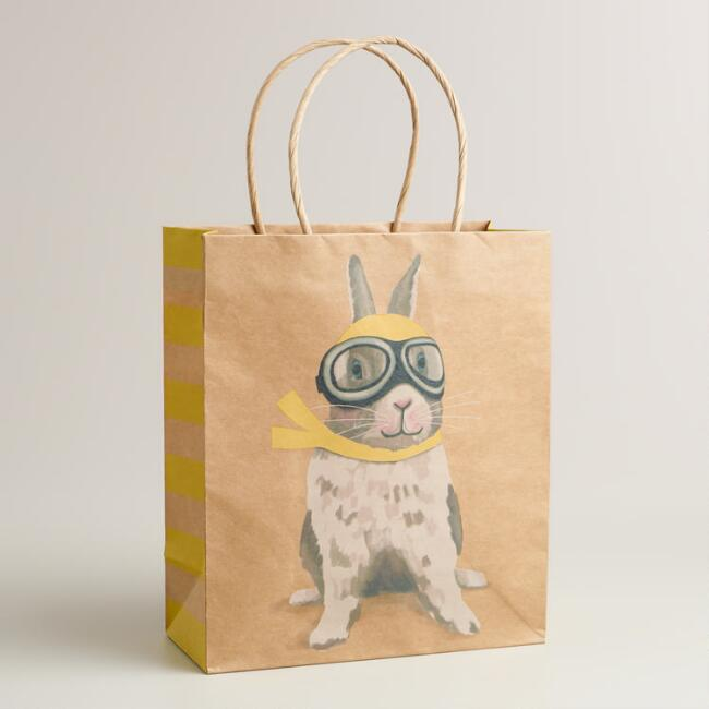 Medium Bunny with Goggles Kraft Gift Bag
