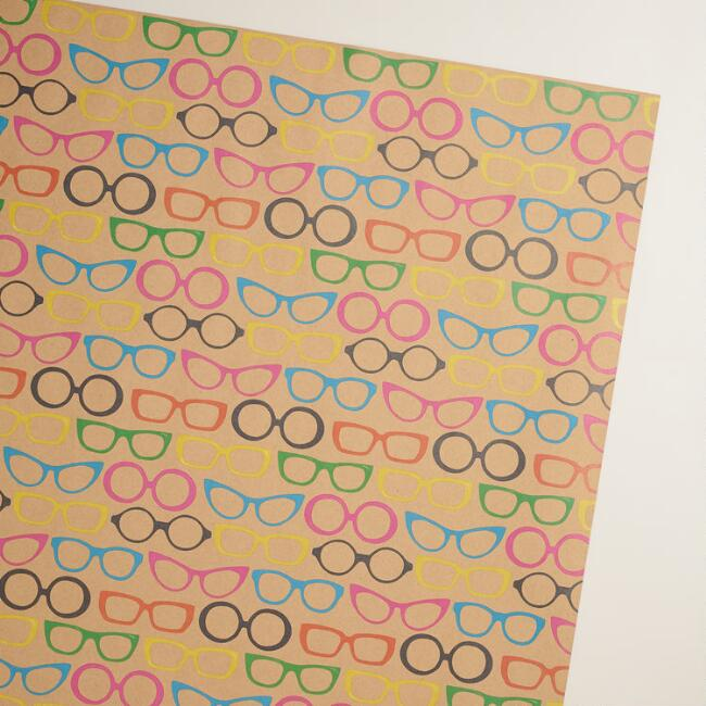 Vintage Neon Glasses Kraft Wrapping Paper Roll
