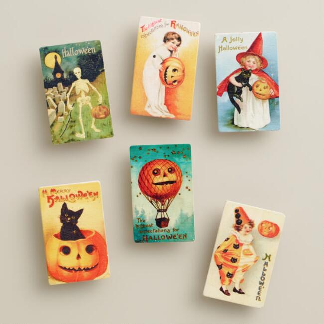 Vintage Postcard Halloween Wood Clips, 6-Pack