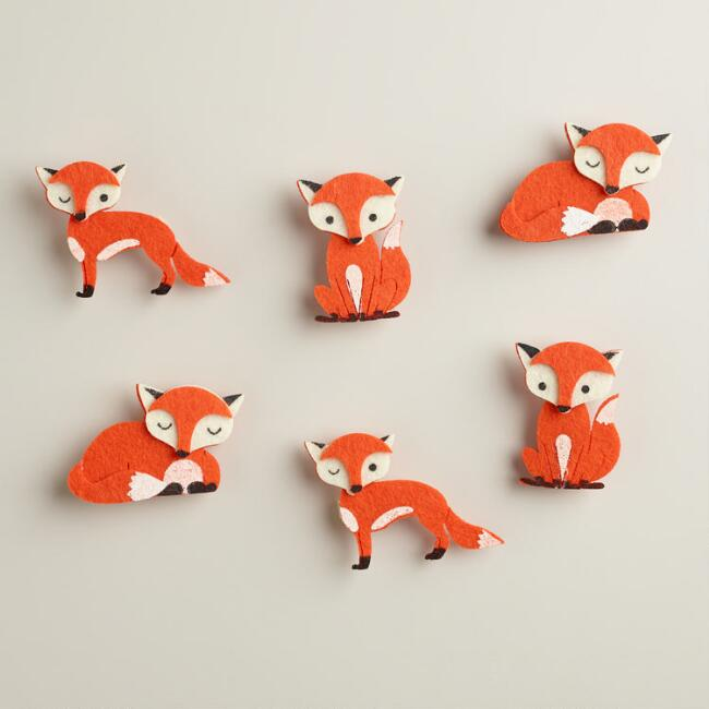 Fox Harvest Felt Clips, 6-Pack