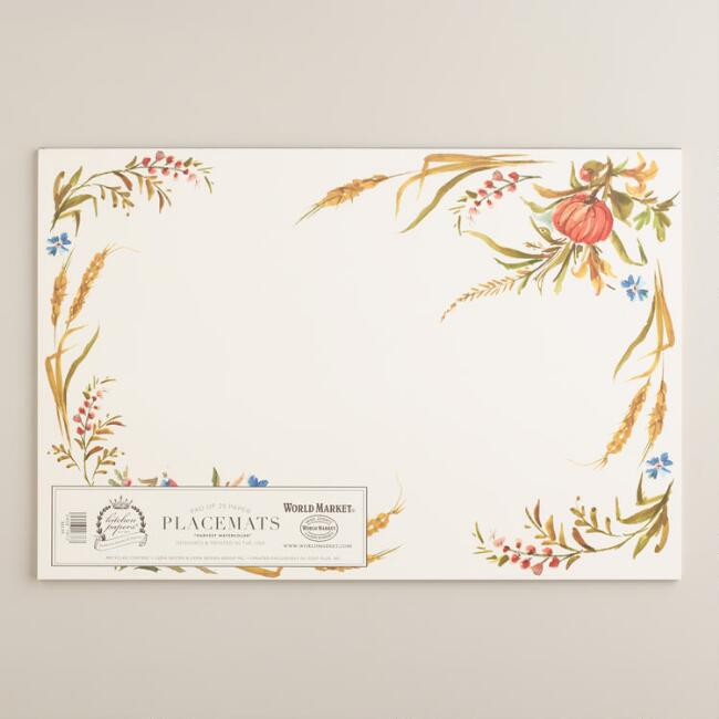 Harvest Watercolor Kitchen Papers Kraft Placemats Book