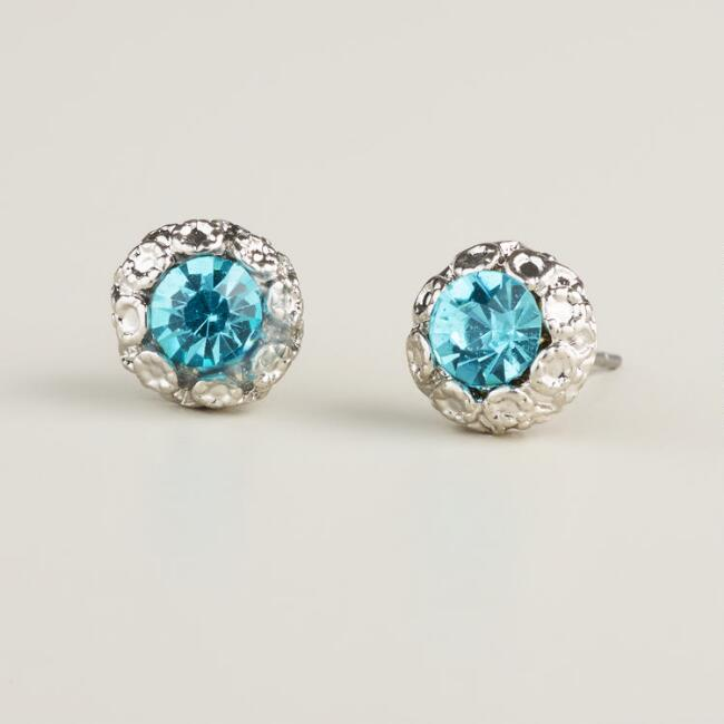 Silver Textured Aqua Stud Earrings