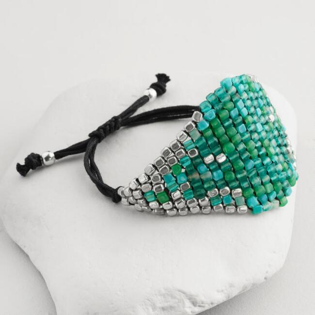 Turquoise and Silver Bead Friendship Bracelet